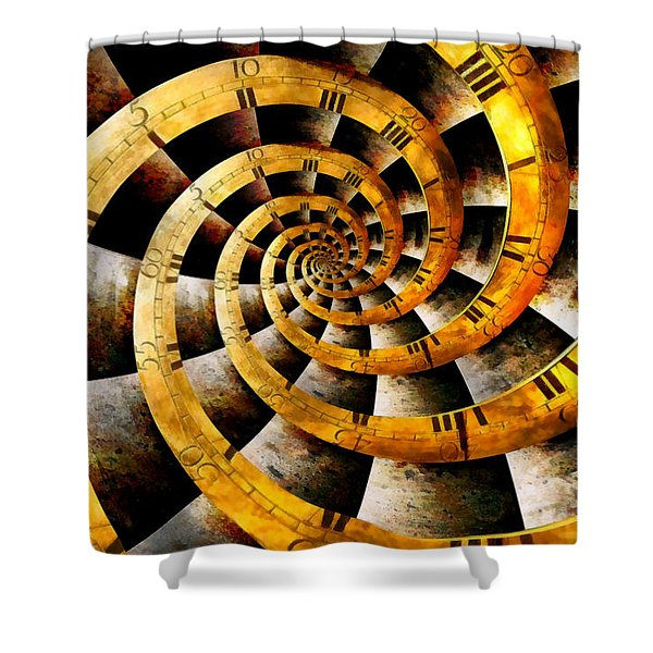 Steampunk - Clock - The flow of time Shower Curtain by Mike Savad