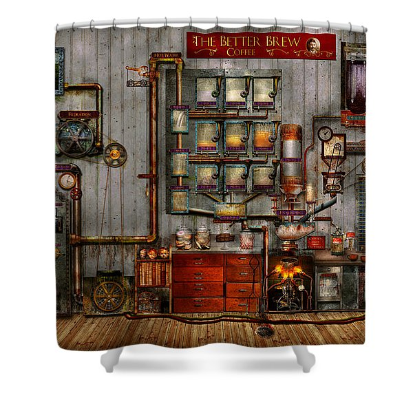Steampunk - Coffee - The Company Coffee Maker Shower Curtain by Mike Savad