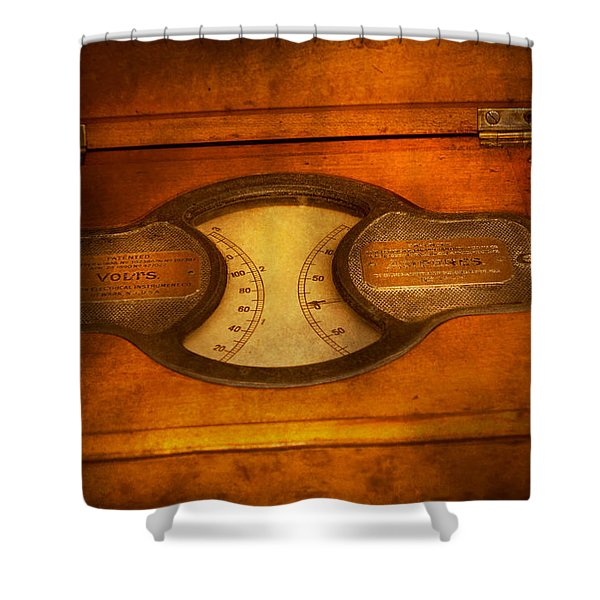 Steampunk - Electrician - The Portable Volt Meter Shower Curtain by Mike Savad