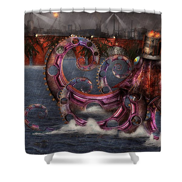 Steampunk - Enteroctopus magnificus roboticus Shower Curtain by Mike Savad