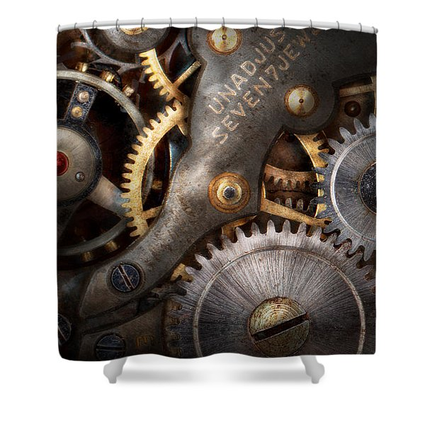 Steampunk - Gears - Horology Shower Curtain by Mike Savad