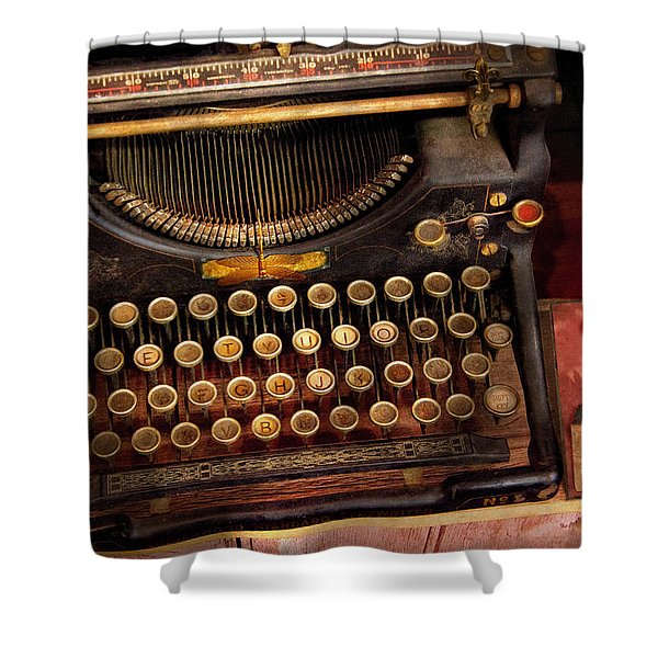 Steampunk - Just an ordinary typewriter  Shower Curtain by Mike Savad