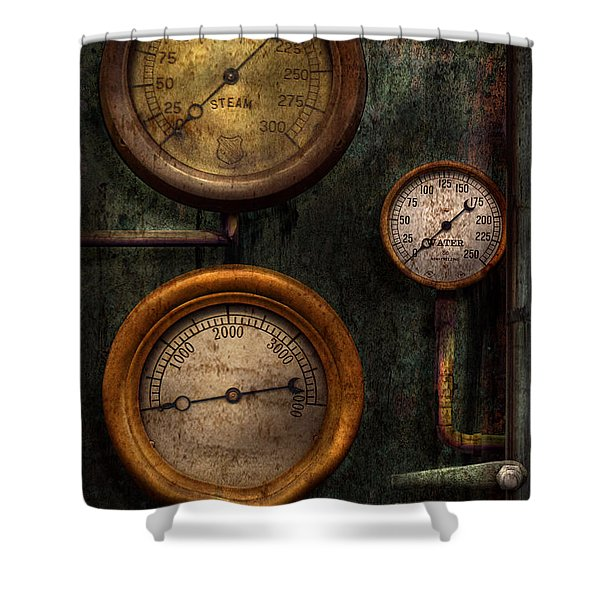 Steampunk - Plumbing - Gauging success Shower Curtain by Mike Savad