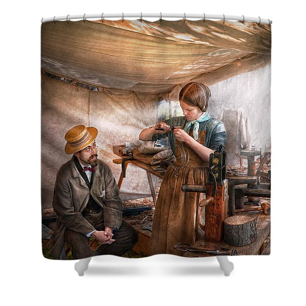 Steampunk - The Apprentice Shower Curtain by Mike Savad