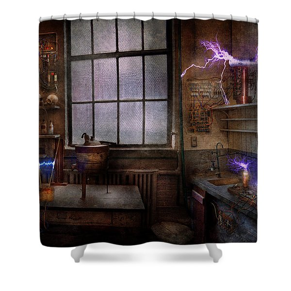 Steampunk - The Mad Scientist Shower Curtain by Mike Savad