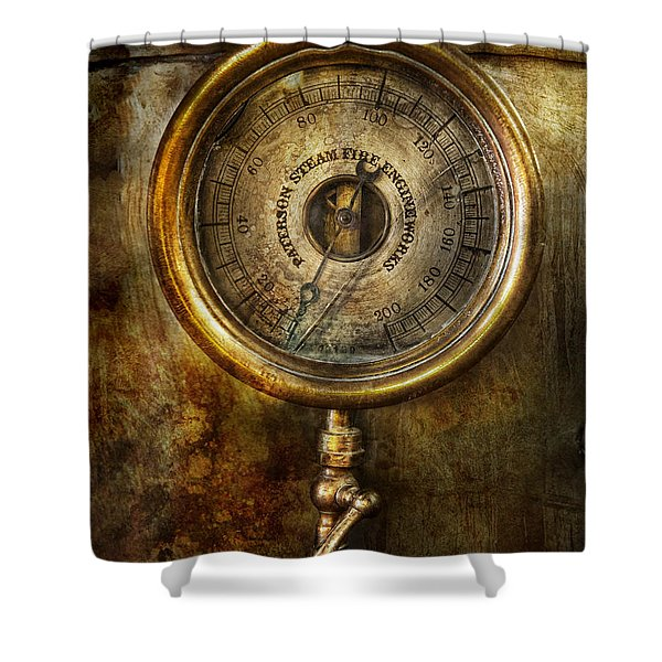 Steampunk - The pressure gauge Shower Curtain by Mike Savad