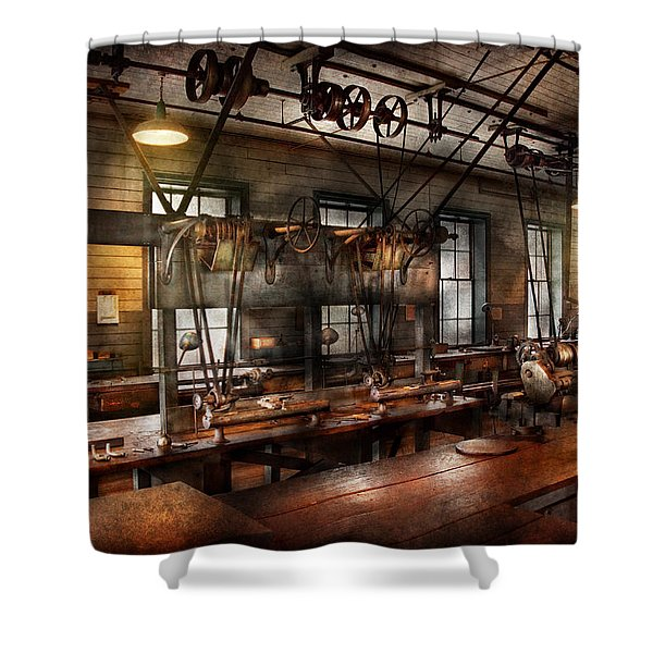 Steampunk - The Workshop Shower Curtain by Mike Savad
