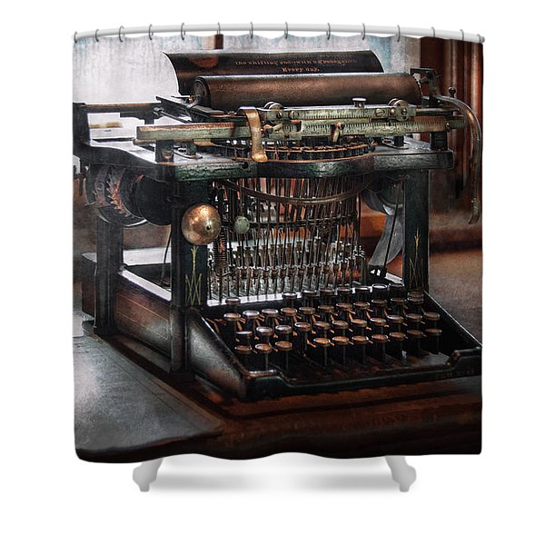 Steampunk - Typewriter - A Really Old Typewriter Shower Curtain by Mike Savad