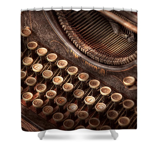 Steampunk - Typewriter - Too tuckered to type Shower Curtain by Mike Savad