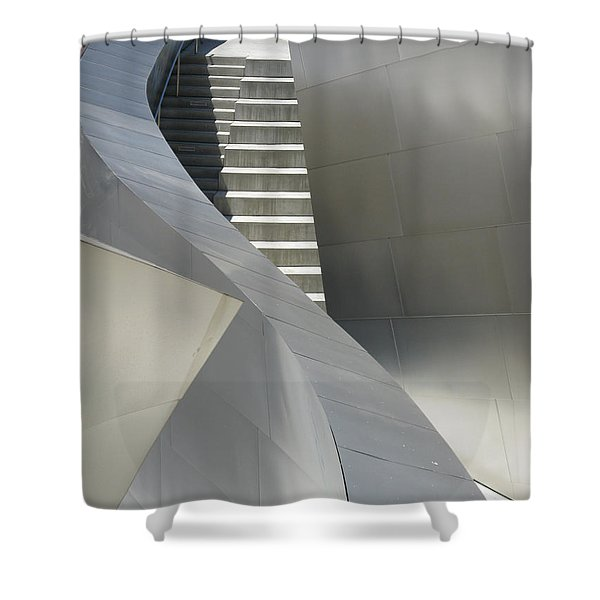 Steel And Concrete Shower Curtain by Ausra Paulauskaite