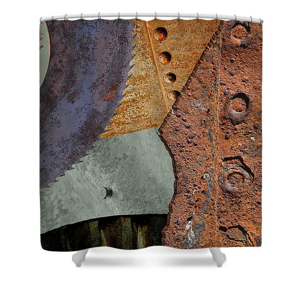 Steel Collage Shower Curtain by Fran Riley