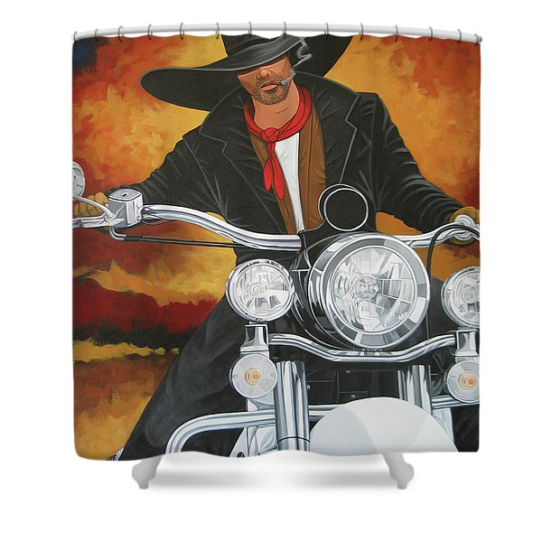 Steel Pony Shower Curtain by Lance Headlee