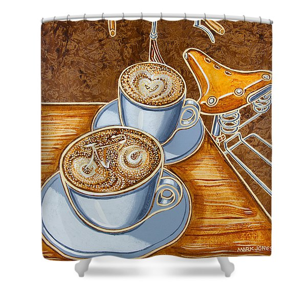 Still life with bicycle Shower Curtain by Mark Howard Jones