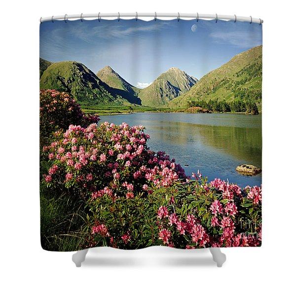 Stillness of the Mountain Shower Curtain by Edmund Nagele