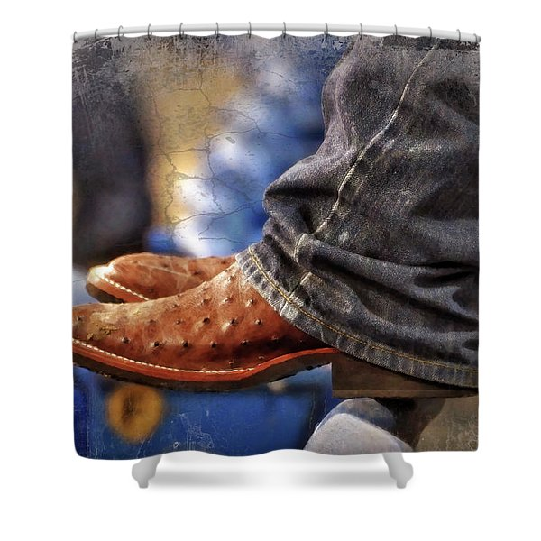 Stockshow Boots III Shower Curtain by Joan Carroll