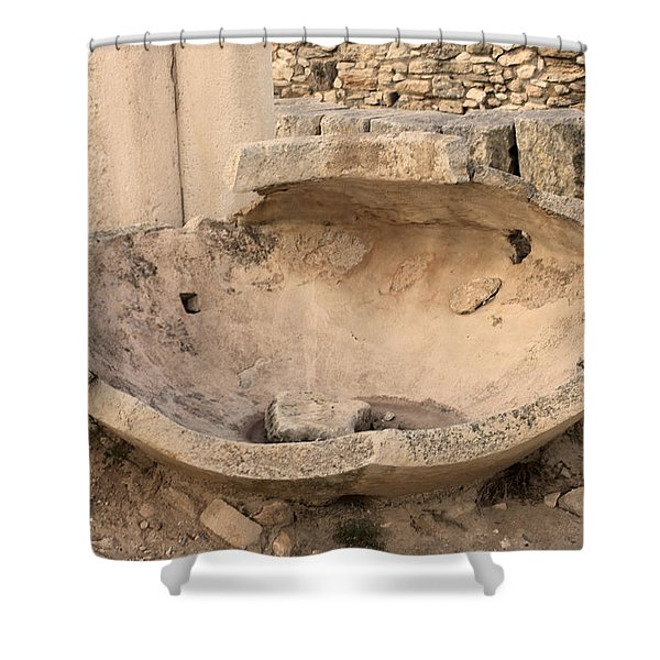 Stone Jar At Temple Of Apollo Shower Curtain by Augusta Stylianou