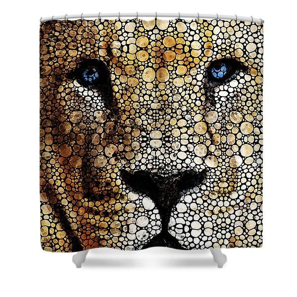 Stone Rock'd Lion 2 - Sharon Cummings Shower Curtain by Sharon Cummings