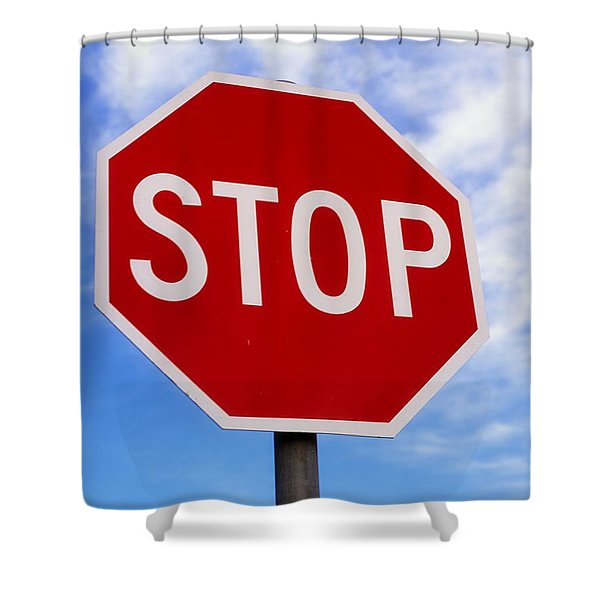 Stop Sign Ireland Shower Curtain by The Irish Image Collection