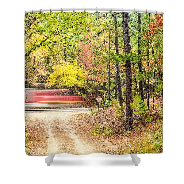 Stop - Beaver's Bend State Park - Highway 259 Broken Bow Oklahoma Shower Curtain by Silvio Ligutti