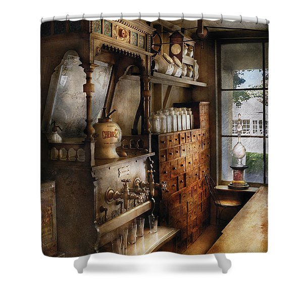 Store - Turn of the century soda fountain Shower Curtain by Mike Savad