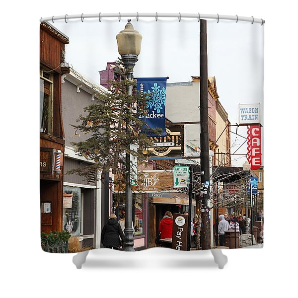 Storefront Shops in Truckee California 5D27489 Shower Curtain by Wingsdomain Art and Photography