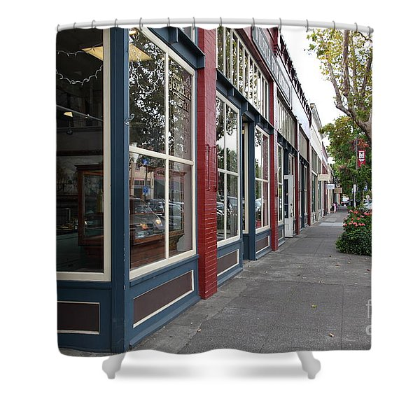 Storefronts In Historic Railroad Square Area Santa Rosa California 5D25856 Shower Curtain by Wingsdomain Art and Photography