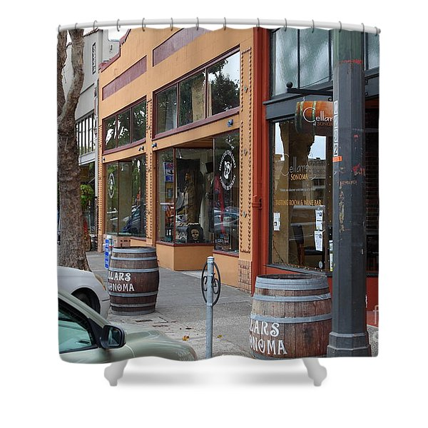 Storefronts In Historic Railroad Square Santa Rosa California 5D25804 Shower Curtain by Wingsdomain Art and Photography