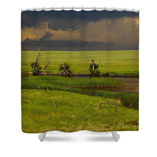 Storm Crossing Prairie 1 Shower Curtain by Robert Frederick