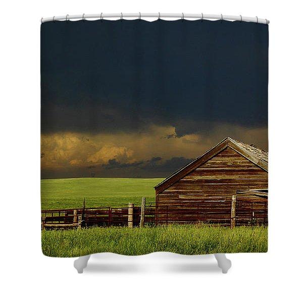 Storm Crossing Prairie 2 Shower Curtain by Robert Frederick