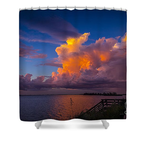Storm on Tampa Shower Curtain by Marvin Spates