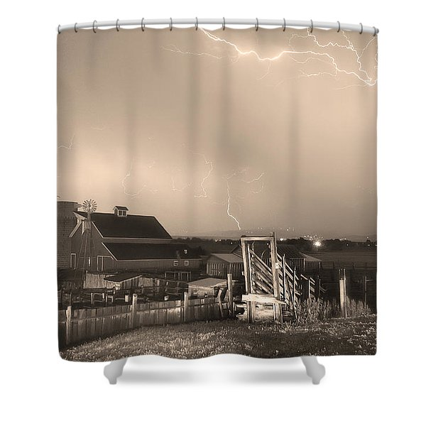 Storm On The Farm In Black And White Sepia Shower Curtain by James BO  Insogna