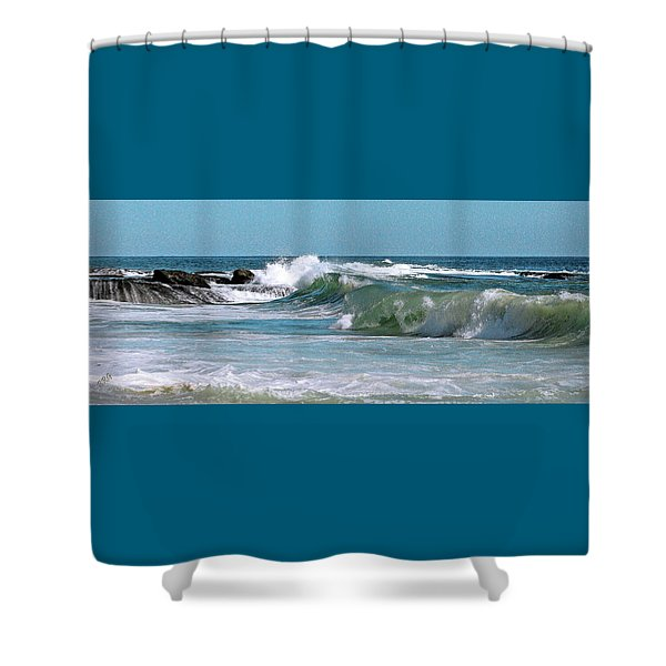 Stormy Lagune - Blue Seascape Shower Curtain by Ben and Raisa Gertsberg