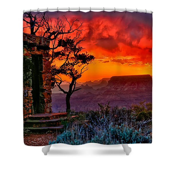 Stormy Sunset At The Watchtower Shower Curtain by Greg Norrell
