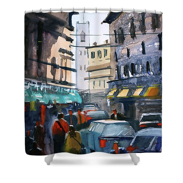 Strangers In Rome Shower Curtain by Ryan Radke