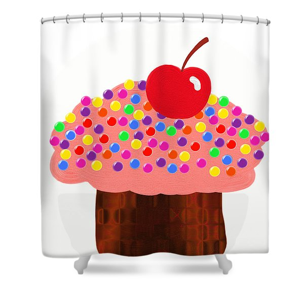 Strawberry Cupcake Shower Curtain by Andee Design