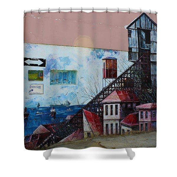 Street Art Valparaiso Chile 17 Shower Curtain by Kurt Van Wagner