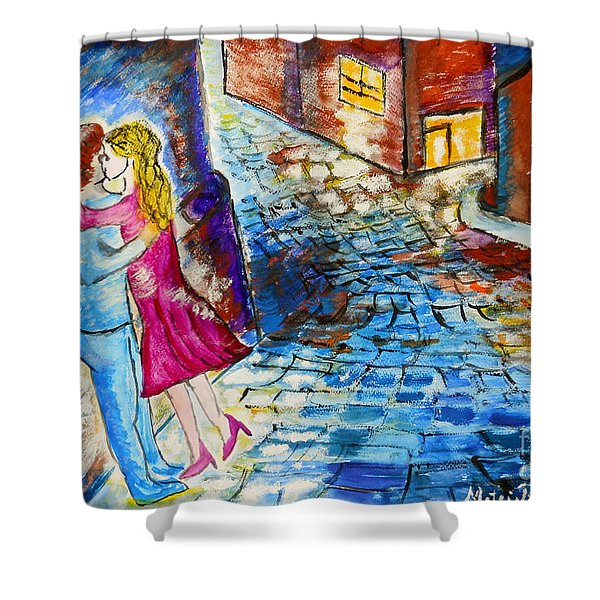 Street Kiss by Night  Shower Curtain by Ramona Matei