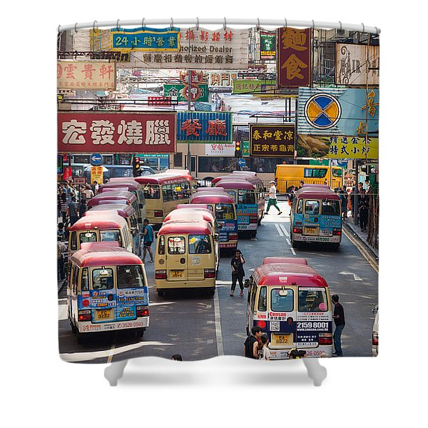 Street scene in Hong Kong Shower Curtain by Matteo Colombo