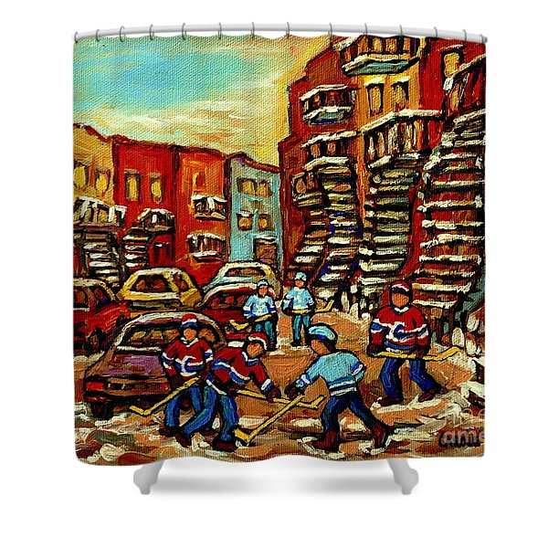 Streets Of Verdun Paintings He Shoots He Scores Our Hockey Town Forever Montreal City Scenes Shower Curtain by Carole Spandau