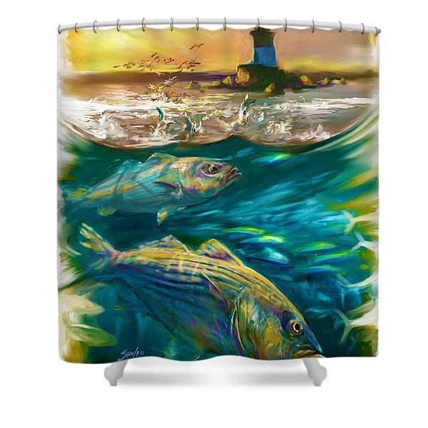 Striper And Lighthouse - Striped Bass Art Shower Curtain by Savlen Art