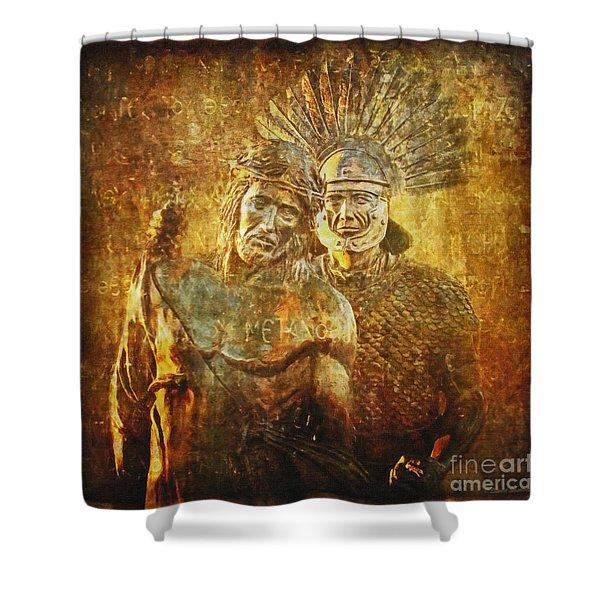 Stripped Of His Garments Via Dolorosa 10 Shower Curtain by Lianne Schneider