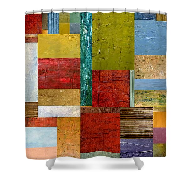Strips and Pieces lll Shower Curtain by Michelle Calkins
