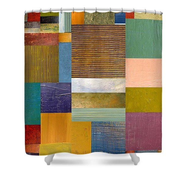 Strips and Pieces lV Shower Curtain by Michelle Calkins