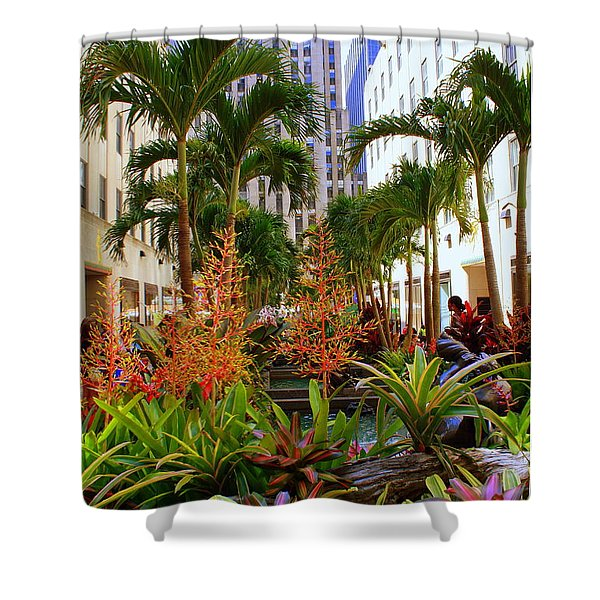 Summer At Rockefeller Center Shower Curtain by Photographic Art and Design by Dora Sofia Caputo