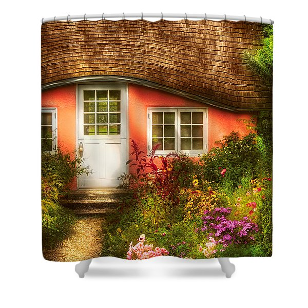 Summer - Cottage - Little Pink Play House Shower Curtain by Mike Savad