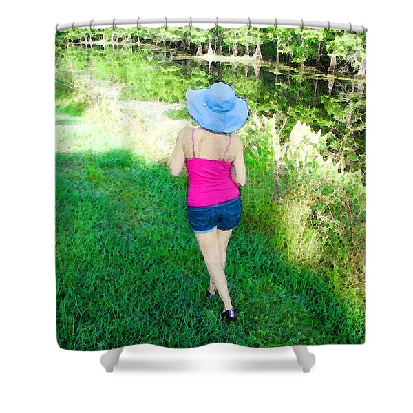 Summer Stroll In The Park - Art by Sharon Cummings Shower Curtain by Sharon Cummings