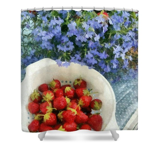 Summertime Table Shower Curtain by Michelle Calkins