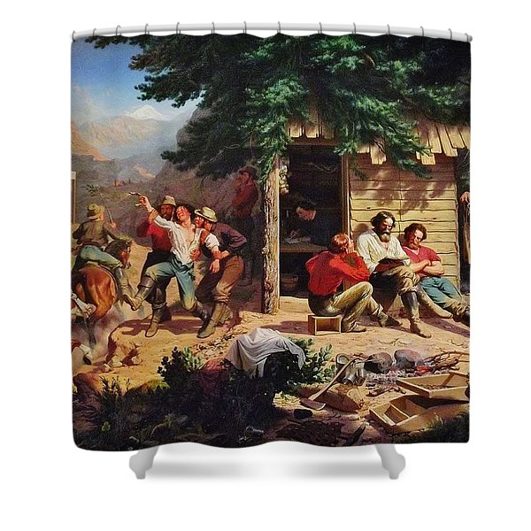 Sunday Morning In The Mines Shower Curtain by Charles Nahl