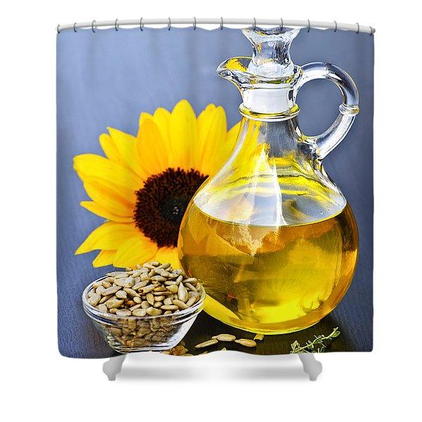 Sunflower Oil Bottle Shower Curtain by Elena Elisseeva