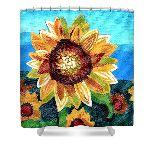 Sunflowers And Blue Sky Shower Curtain by Genevieve Esson